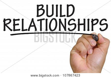 Hand Writing Build Relationships Over Plain White Background