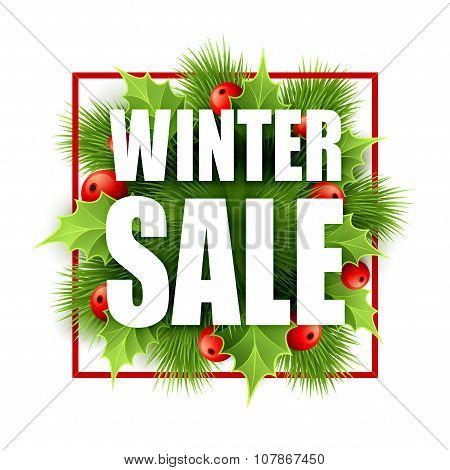Christmas sale design with holly. Vector illustration