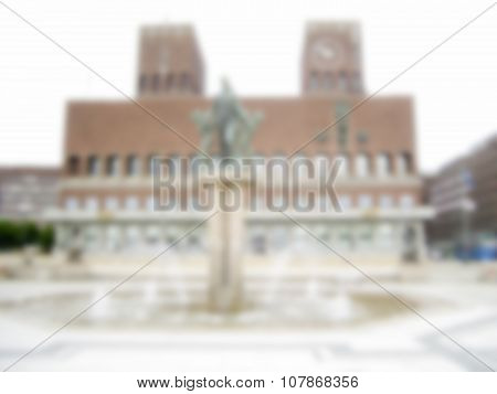 Defocused Background On The City Hall, Oslo. Intentionally Blurred Post Production