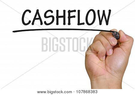 Hand Writing Cashflow  Over Plain White Background
