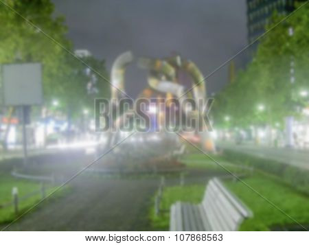 Defocused Background Of Berlin. Intentionally Blurred Post Production
