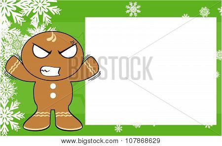 angry xmas gingerbread kid cartoon expression background