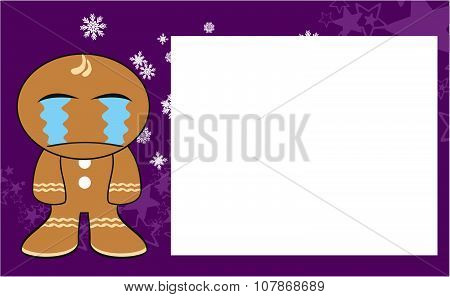 crying xmas gingerbread kid cartoon expression background
