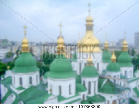 Defocused Background Of The Domes Of St. Sophia's Cathedral In Kiev. Intentionally Blurred Post Prod