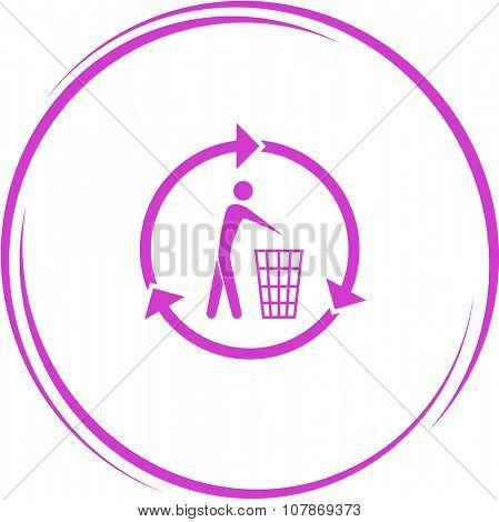 recycling bin. Internet button. Raster icon.