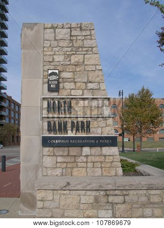 North Bank Stone Sign