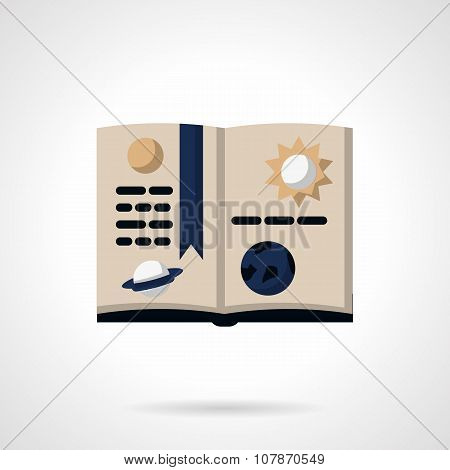 Astronomy book flat color vector icon