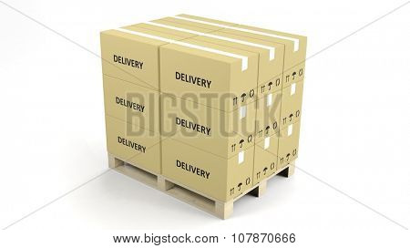 Carton boxes on wooden pallets isolated on white background