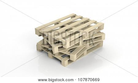 Wooden pallets isolated on white background
