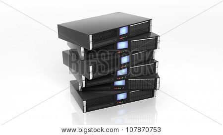 Server racks, isolated on white background