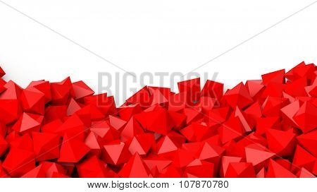 3D red polyhedrons pile, isolated on white with copy-space