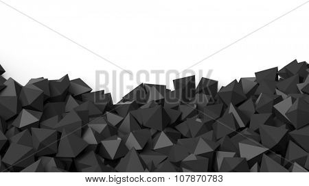 3D black polyhedrons pile, isolated on white with copy-space
