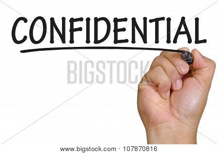 Hand Writing Confidential Over Plain White Background