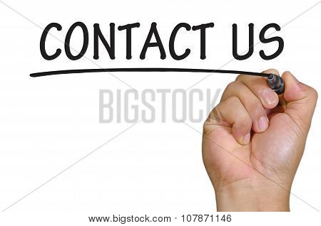 Hand Writing Contact Us Over Plain White Background