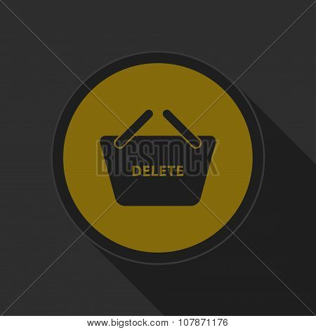 Dark Gray And Yellow Icon - Shopping Basket Delete