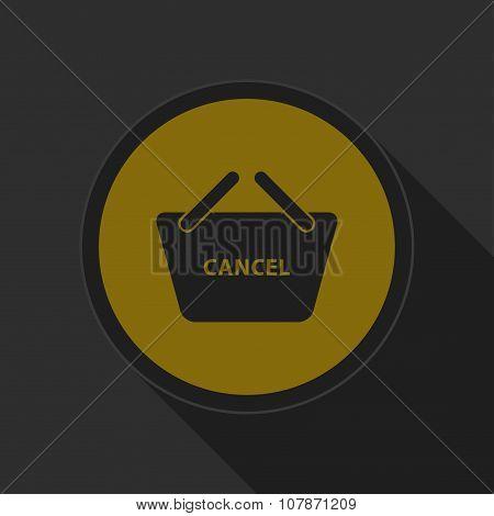 Dark Gray And Yellow Icon - Shopping Basket Cancel