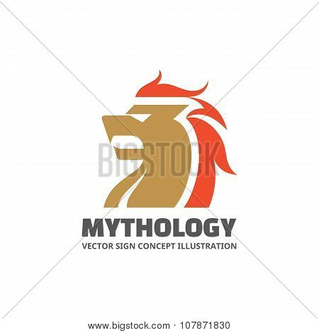 Lion head - vector concept illustration. Lion head graphic logo. Mythology animal head vector.