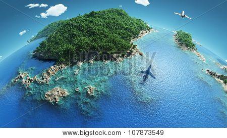 aircraft flies over a tropical islands