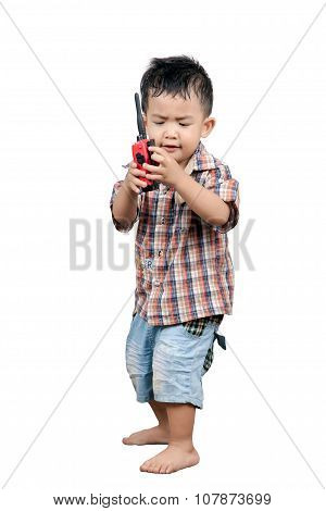 Cute 2 Year Old, Asian Children Playing Walkie Talkie Radio, Isolated On White