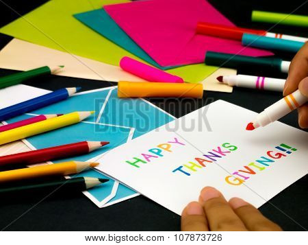 Message Card For Your Family And Friends; Happy Thanksgiving