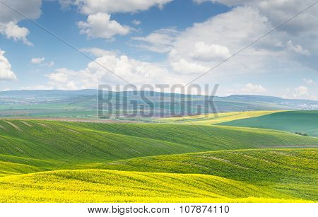 Beautiful landscape, yellow-green-blue colors of nature, sunny day, Czech Republic, Europe