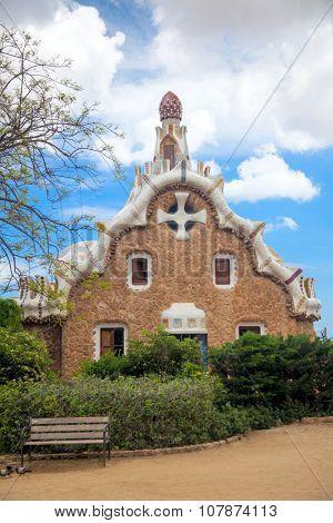 Famous landmark - Park Guell in Barcelona, Spain, Europe