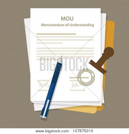 mou memorandum of understanding legal document agreement stamp