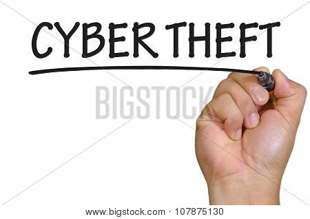 Hand Writing Cyber Theft Over Plain White Background