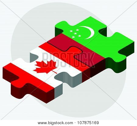 Canada And Turkmenistan Flags
