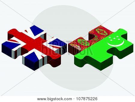 United Kingdom And Turkmenistan Flags