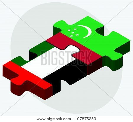 United Arab Emirates And Turkmenistan Flags