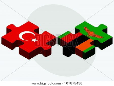 Turkey And Zambia Flags