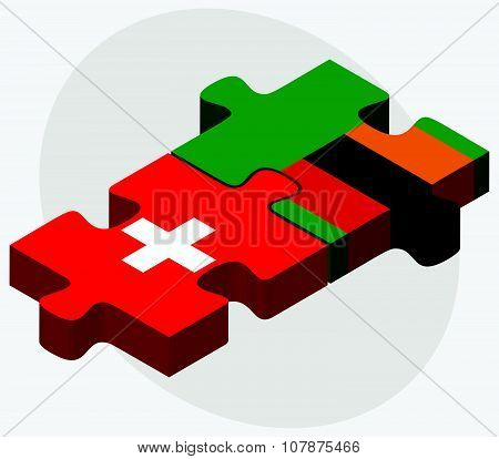 Switzerland And Zambia Flags