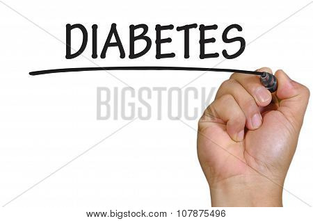 Hand Writing Diabetes Over Plain White Background