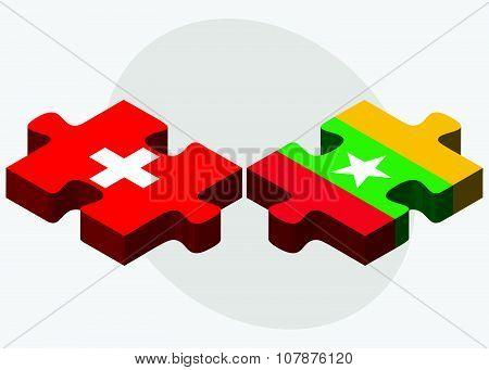 Switzerland And Myanmar Flags