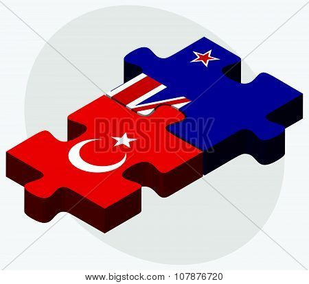 Turkey And New Zealand Flags