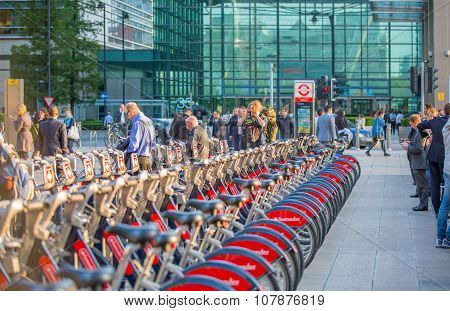 LONDON, UK - SEPTEMBER 9, 2015: Bike parking line in Canary Wharf