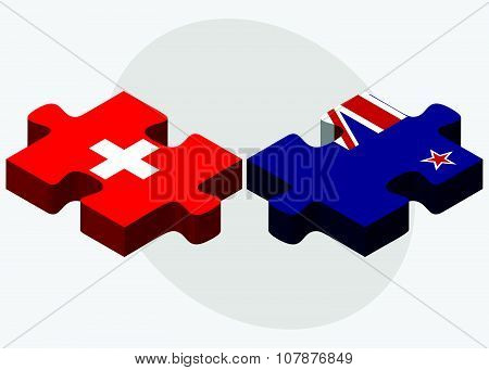 Switzerland And New Zealand Flags