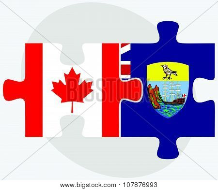 Canada And Saint Helena Flags