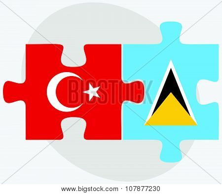 Turkey And Saint Lucia Flags