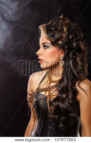 Girl With Creative Styling. Retro Style. Smoke Background.
