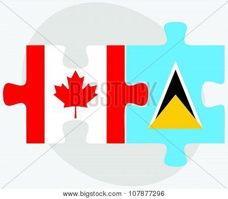 Canada And Saint Lucia Flags
