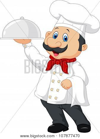 Cartoon happy chef holding a silver platter
