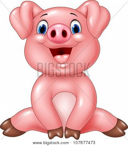 Cartoon adorable baby pig isolated on white background
