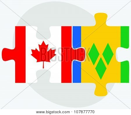 Canada And Saint Vincent And The Grenadines Flags