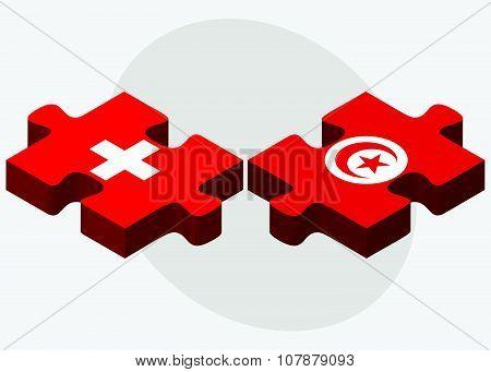 Switzerland And Tunisia Flags