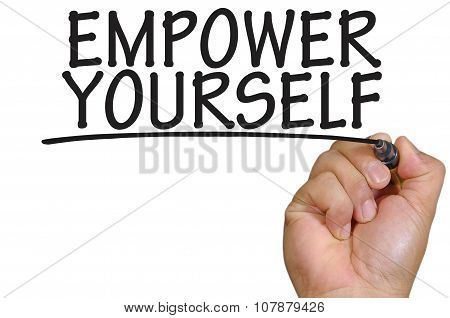 Hand Writing Empower Yourself Over Plain White Background