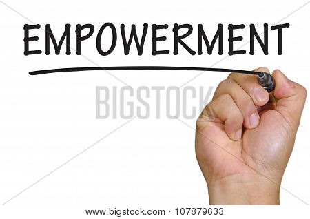 Hand Writing Empowerment Over Plain White Background