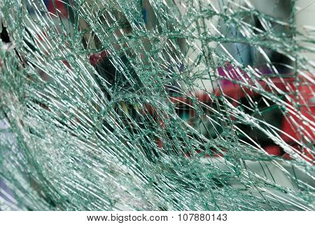 Shattered car windscreen