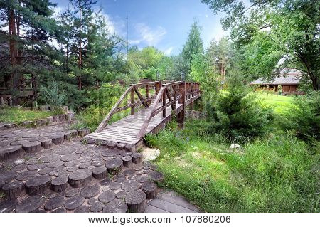 Wooden bridge over ravine